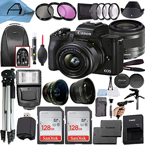 Canon EOS M50 Mark II Mirrorless Digital Camera 24.1MP Sensor with EF-M 15-45mm is STM Lens, 2 Pack SanDisk 128GB Memory Card, Backpack and A-Cell Accessory Bundle (Black)