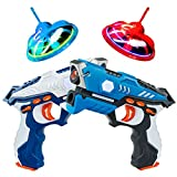 Costzon Laser Battle Tag Set with 2 Toy Guns and 2 Flying Target Drones, Infrared Double Gun Flying Saucer Set - 4 Pieces, Multiplayer Mode and 4 Gun Types, Flickering Lights, Booming Sound Effects