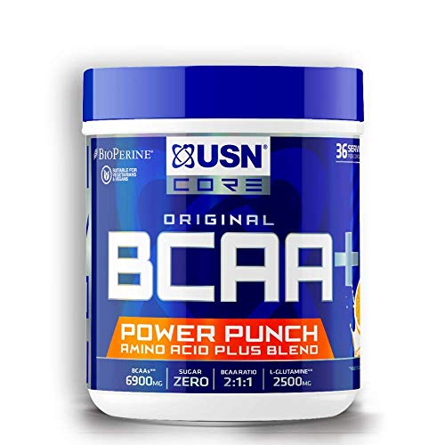 USN BCAA Power Punch, BCAA Powder with Vitamin B6 Intra Workout Amino Drink, Tangerine, 400 g