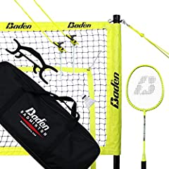 SET INCLUDES - (1) Regulation size badminton net and all necessary hardware, (3) Nylon Shuttlecocks, and (4) Tournament Level Quality Badminton Racquets EASY SETUP - Heavy duty, adjustable, powder coated, aluminum poles that makes the setup and break...