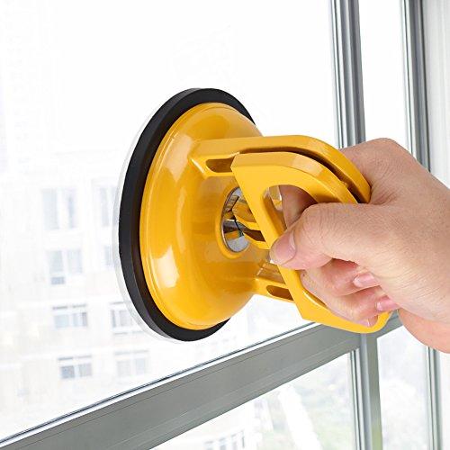 MASO 2 piezas de ventosa al vacío ventosa mango elevador extractor para pantalla de vidrio baldosas de cerámica de trabajo de transporte (plástico amarillo)