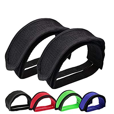 Qeedy Bike Pedal Straps Pedal 2 Pieces Universal Bicycle Feet Strap Pedal Straps Toe Clips Straps Tape for Fixed Gear Bike (Black#3)