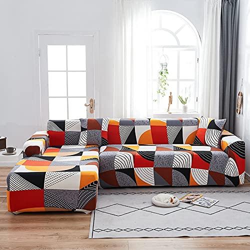 WXQY Funda de sofá de celosía geométrica elástica para Sala de Estar en Forma de L Chaise Longue Funda de sofá Antideslizante Envuelta herméticamente A1 3 plazas