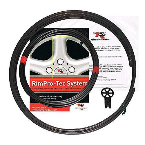 RimPro-Tec System | 4 x innere Nadelstreifen + 4 x Basis | Reduzieren Sie den Bordsteinschaden | Strapazierfähiger Allwetterschutz | Passt auf alle Räder (Außen: Schwarz | Inner: Schwarz)