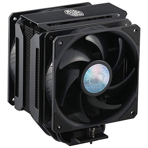 CoolerMaster MasterAir MA612 - Enfriador de aire para CPU Stealth, 6 tubos de calor, base niquelada, aletas negras de aluminio, push-pull, ventiladores dobles SickleFlow para AMD Ryzen/Intel 1200/1151