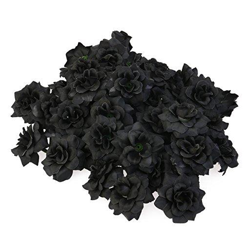 VORCOOL 50 Stück Kunstblumen Rosenköpfe Stoffrosen Deko-Blüte (Schwarz)