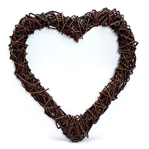 FRANK FLECHTWAREN Offen verflochtenes Deko-Herz aus Naturweide in rustikalem Design