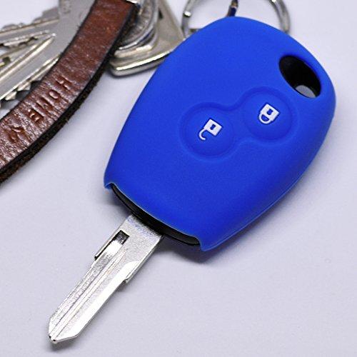Soft Case Schutz Hülle Auto Schlüssel für Dacia DOKKER SANDERO Duster LODGY Logan Renault CLIO TWINGO 2 Tasten/Farbe Blau