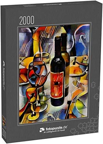 fotopuzzle.de Puzzle 2000 Teile Stilleben von Essen, Gläsern und Wein Bildende Kunst in Form von Abstraktion im Stil des Kubismus