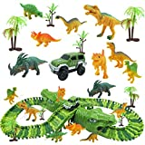 Ishine Juego de juguetes de dinosaurio para coche, pista de carreras de dinosaurios, juego de carrera, carril eléctrico, para coche, montaje cambiable, pista sobre dinosaurios montaña (verde)