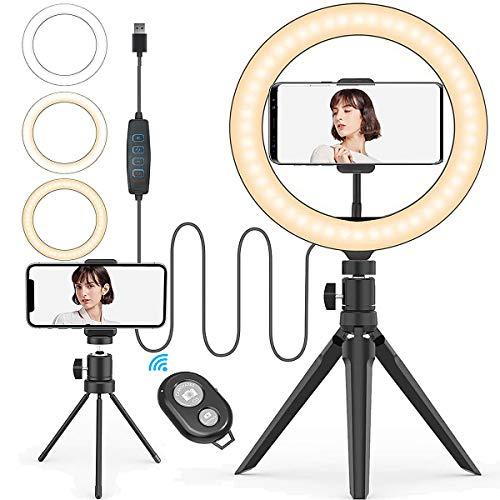 LED-Ring, verstellbar, mit 2 Stativ und Fernbedienung, 10 Helligkeitsstufen für Make-up, Fotografie und Youtube