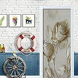QHOXAI Pegatinas Decorativas De Puerta Autoadhesivo 3D Flor Rosa En Relieve Arte Moderno Vinilo para Puertas Mural Sala Baño Cocina Cuarto PVC Pegatinas De Pared Foto Poster 85X205Cm