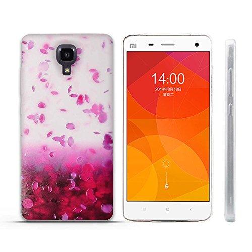 FUBAODA für Xiaomi Mi4 Hülle, 3D Erleichterung Schöne Blume Muster TPU Case Schutzhülle Silikon Case für Xiaomi Mi4