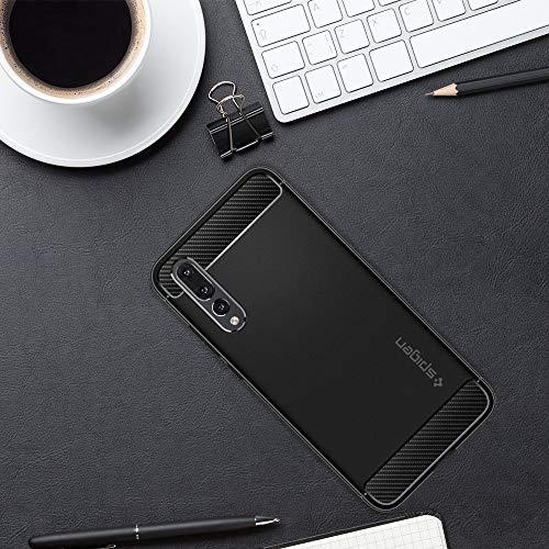 Rugged Armor für Huawei P20 PRO Hülle TPU Silikon Schutzhülle Stylisch Karbon Design Handyhülle Case – Schwarz - 5