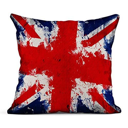 Kinhevao Cojín Bandera británica de Gran Bretaña Union Jack Reino Unido en técnica Inglaterra Cojín de Lino inglés Almohada Decorativa para el hogar