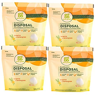 Grab Green Naturally-Derived, Tangerine with Lemongrass, 12 Pods (4-Pack), Mineral-Based Garbage Disposal Cleaner & Freshener