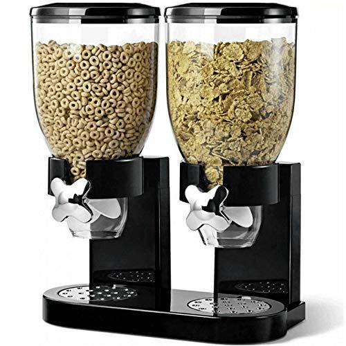 MantraRaj Dispensador de cereales doble hermético seco alimentos frutos secos etc almacenamiento contenedor transparente máquina casa