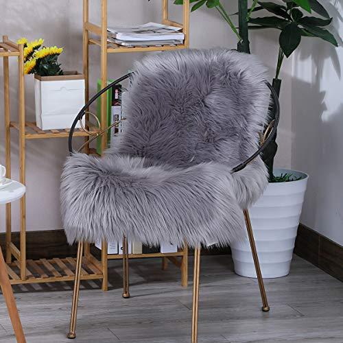 ZPXTI Flauschiger Kunstpelz Teppich,Schaffell Teppiche Schöner Teppich Universelle Teppiche in verschiedenen Größen für Schlafzimmer Wohnzimmer,Stuhl oder Sofa(Grau, 60x90cm)