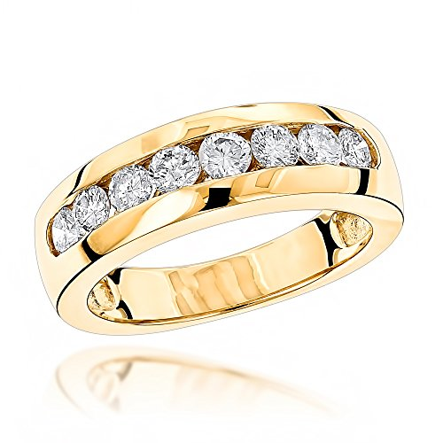 Luxurman 14K Mens Natural 0.5 Ctw Diamond Wedding Ring For Him (Yellow Gold Size 10)