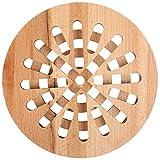 Creative Home Salvamantel Redondo de Madera   19,5 x 19,5 x 1,5 cm   Madera de Haya Natural   Reversible   Protección de Mesa y Encimera   Resistente al Calor y Ecológico