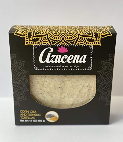 Azucena Chia and Turmeric Tortillas, Gluten Free, Vegan, Omega 3, 2 Packs of 21 Tortillas Each