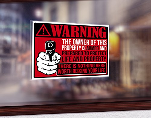 "Back/Front Adhesive Indoor/Outdoor Sticker (2 Pack) 3"" X 4"" Protected by Armed Property Owner Home Business Window Door 2nd Amendment Gun Handgun Pistol Warning Decal Sticker Gun (RED)"