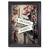 A&T ARTWORK Lovers Roadcrossing Signs Personalized Framed Arts Gift,Includes Names and The Special Date Unique Gift for The Wedding Anniversary.30x20 inches Black Color Art Framed