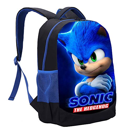 Sonic The Hedgehog Backpack Anime Cartoon 3D Print School Bag with Teenager and Boy Large Laptop Daypack (2-No front)