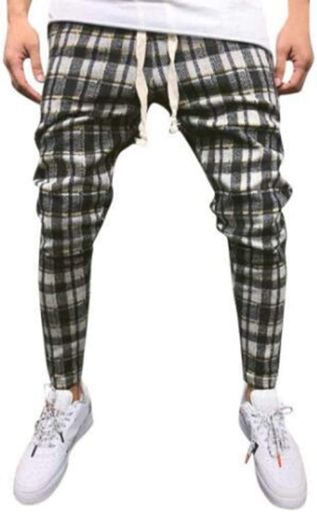 Men's Casual Pants Casual Fashion Plaid Print Color Matching Slim XX-Large Yellow