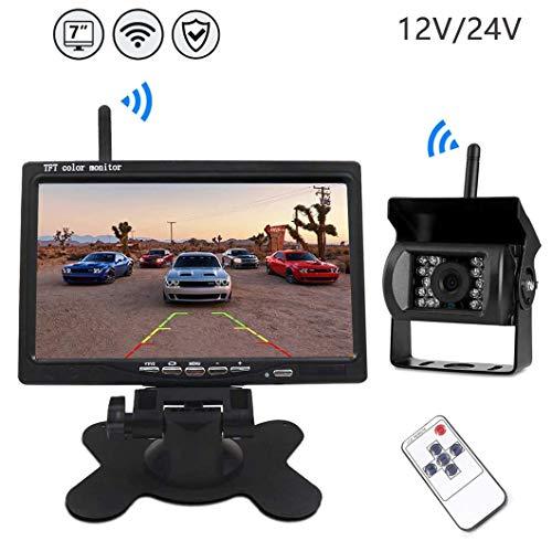 Caméra de Recul sans Fil - Caméra de Voiture Numérique avec Bonne Vision Nocturne, Caméra Etanche IP67 avec 7'' LCD Moniteur,...
