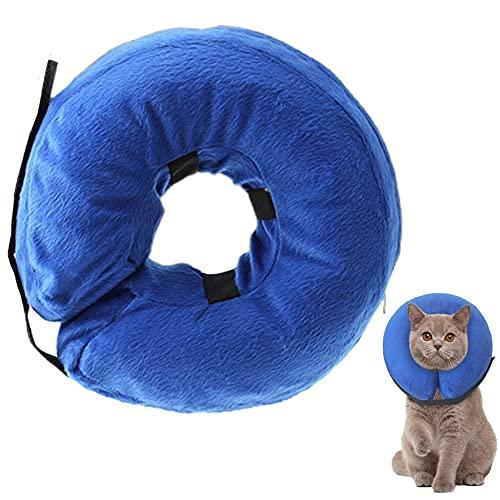 Elehui Collare Gonfiabile per Cani e Gatti Protettivo Collare Regolabile per Animali Collare Protettivo Confortevole con Velcro per Cani e Gatti (S)