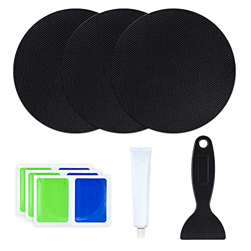 Trampoline Patch Repair Kits, 5' x 5' Round On Patches | Repair Holes or Tears in a Trampoline Mat - Pack of 3