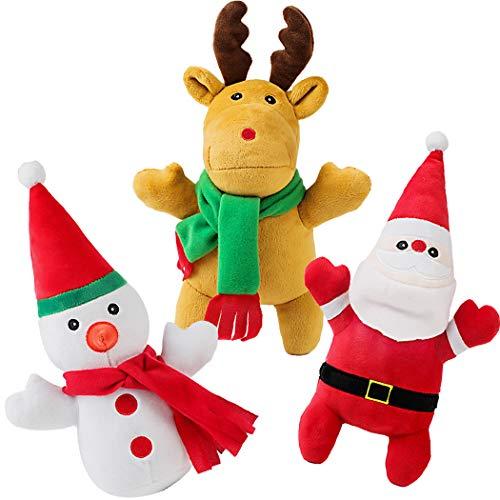 Legendog 3 Pcs Christmas Plush Dog Squeak Toys, Soft Plush Dog Toys, Puppy Dog Chew Toy, Durable Deer Snowman and Santa Claus Dog Toy for Small Medium Dog