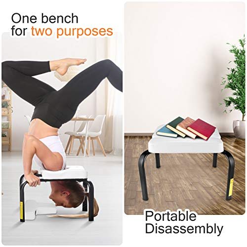 CROFULL Yoga Chair Headstand Bench Trainer Inversion Stool for Workout, Fitness and Gym, Handstands, Support Poses, Back Pain Relief and Stretching (White)
