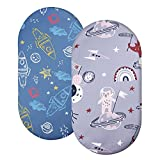 Stretchy Bassinet Sheet Set SVTEOKO 2 Pack Snug Fitted Cradle Fitted Sheets for Bassinet Pads/Mattress, for Boys Girls,Unisex,Ultra Soft Breathable,Arrow & Owl (Space and Spaceman)