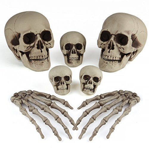 KUUQA 7 PCS Halloween Ossa Decorazioni Skeleton Testa Cranio e Scheletro Mani per Halloween Cimitero Decorazione Party Supplies
