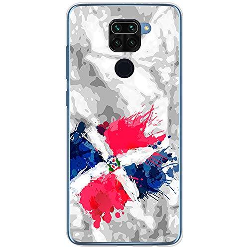 BJJ SHOP Funda Transparente para [ Xiaomi Redmi Note 9 ], Carcasa de Silicona Flexible TPU, diseño : Bandera Republica Dominicana, Pintura de brocha Fondo Abstracto