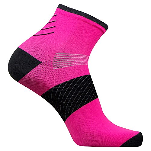 Plantar Fasciitis Sock - Compression Heel/Arch Support, Foot Sleeve, Ankle Socks (Neon Pink, 1 Pair - Small)