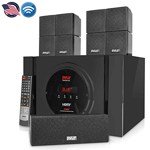 5.1 Channel Home Theater Speaker System - 300W Bluetooth Surround Sound Audio Stereo Power Receiver Box Set w/ Built-in Subwoofer, 5 Speakers, Remote, FM Radio, RCA - Pyle PT589BT,Black