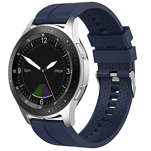 QFSLR Smartwatch Reloj Inteligente Hombre Mujer con Llamada Bluetooth Monitor De Frecuencia Cardíaca Monitor De Presión Arterial Monitoreo De Oxígeno En Sangre para iOS Android,Azul