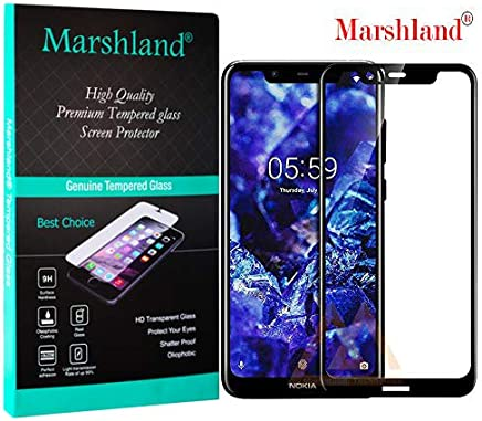 Marshland 11D Full Glue 9H Screen Protector Anti Scratch Crystal Clear Bubble Free Smooth Touch Tempered Glass Compatible for Nokia 5.1 Plus (Black)