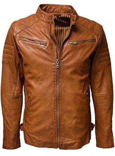Zimmert Stan Echt Lederjacke Leder für Herren aus 100% Lammnappa mit Waschung, Slim-Fit mit Stehkragen und Armsteppung Cognac Grau Braun (Cognac, 48)