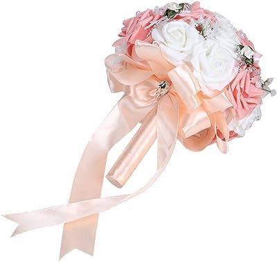 Matrimonio Bouquet Romantico Fiori Artificiali Bouquet di Rose Bouquet da Sposa per la Decorazione Domestica di Nozze del ricevimento all'aperto(Pink)