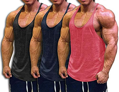 Muscle Cmdr Mens Bodybuilding Stringer Tank Tops Y-Back Gym Fitness T-Shirts