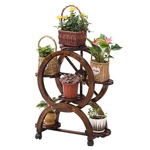 SBDLXY Flower standPlant Stand Vintage Solid Wood Flower Stand 5-storey Plant Flower Pot Rack Shelf With Brake Wheel