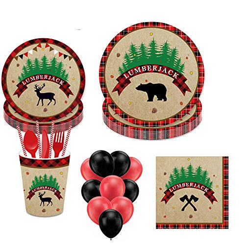 Lumberjack Disposable Tableware, YimaiX 113PCS Lumberjack Party Supplies with Lumberjack Party Plates, Cups, Napkins, Straws,Balloons More for Lumberjack Baby Shower Birthday Party