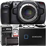 Blackmagic Design Pocket Cinema Camera 6K (EF Mount) with Samsung 1TB T7 Touch Portable SSD, Extended Life LP-E6 Spare Battery (2700mAh/20.0Wh), Home/Travel Battery Charger & More