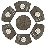 SHACOS Lot de 7 Set de Table tressé en PVC Lavable Résistantes à la Chaleur AntidérapanT,Set de Table Rond,Noir