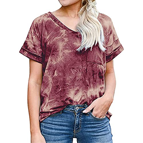 Camiseta de Manga Corta Suelta de Verano Informal para Mujer con teñido Anudado Camiseta Estampada con Cuello en V de Color sólido para Mujer Dobladillo Largo Top Informal Top Suelto de Moda