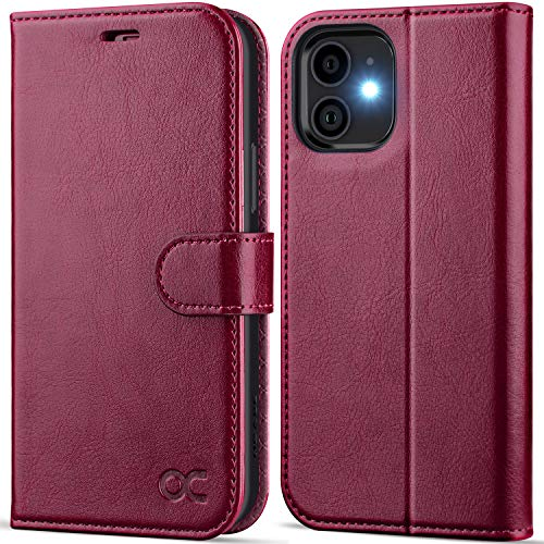 OCASE Compatible with iPhone 12 Mini Wallet Case, PU Leather Flip Folio Case with Card Holders RFID Blocking Kickstand [Shockproof TPU Inner Shell] Phone Cover 5.4 Inch (Burgundy)